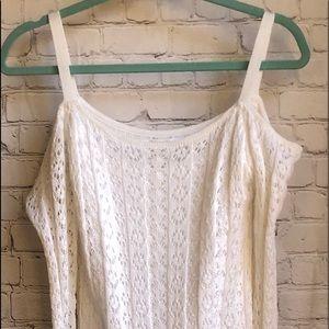 NWOT Venus white knit cold shoulder dress